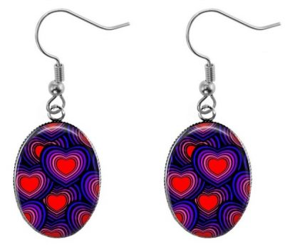 Colorful Hearts Oval Earrings Dangle Earrings