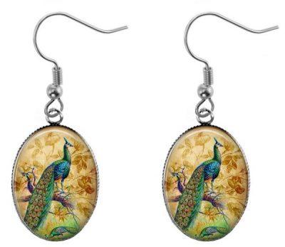 Vintage Peacock Earrings Dangle Earrings