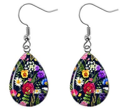 Black Wildflower Earrings Dangle Earrings