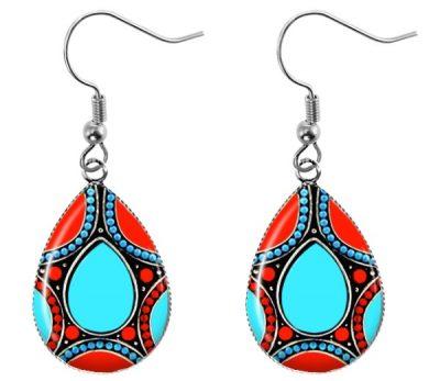 Turquoise Coral Teardrop Earrings Dangle Earrings