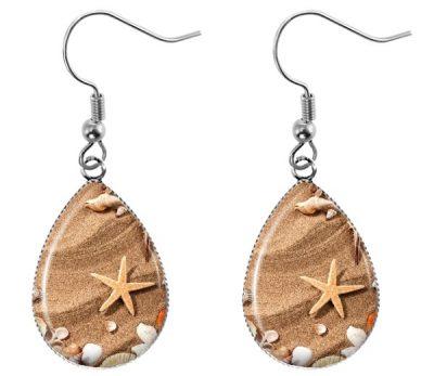 Starfish Teardrop Earrings Dangle Earrings