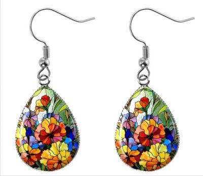 Stained Glass Earrings Dangle Earrings