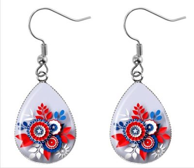 Red White Blue Earrings Dangle Earrings