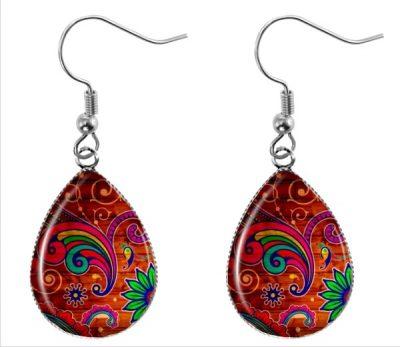 Red Paisley Earrings Dangle Earrings