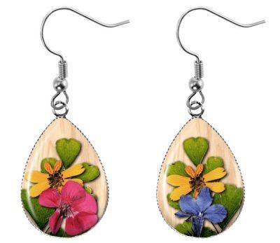 Pressed Flower Teardrop Earrings Dangle Earrings