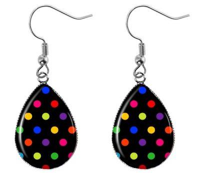 Black Polka Dot Earrings Dangle Earrings