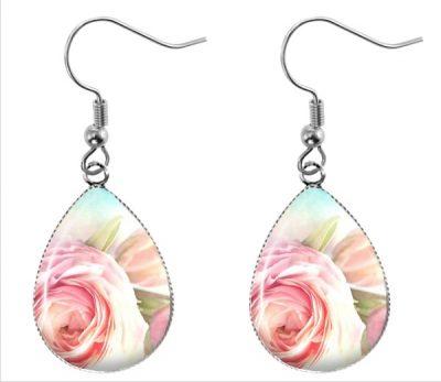 Rose Teardrop Earrings Dangle Earrings