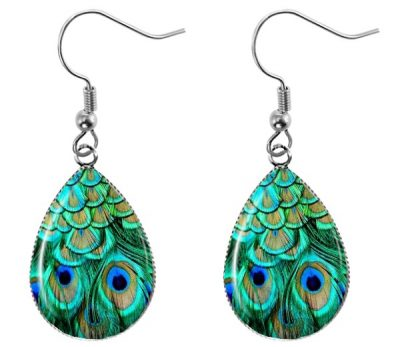 Peacock Feather Teardrop Earrings