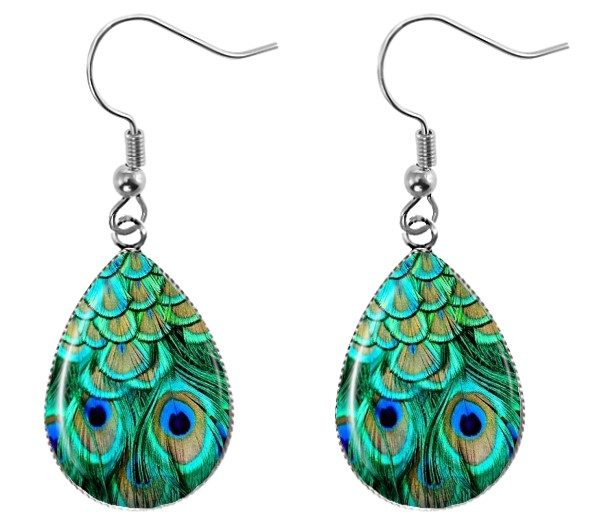 Peacock Feather Teardrop Earrings