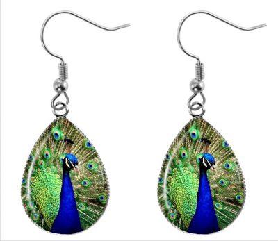 Peacock Teardrop Earrings Dangle Earrings