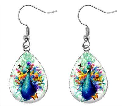 Watercolor Peacock Earrings Dangle Earrings