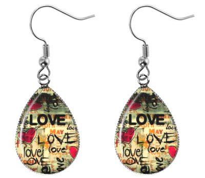 Love Teardrop Earrings Dangle Earrings