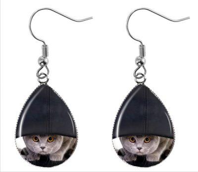 Hiding Cat Earrings Dangle Earrings