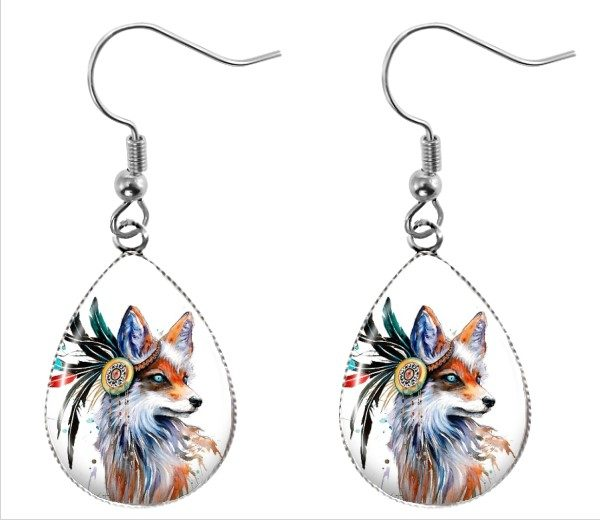 Fox Teardrop Earrings Dangle Earrings