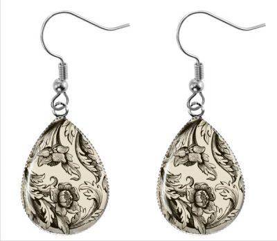 Beige Pattern Earrings Dangle Earrings
