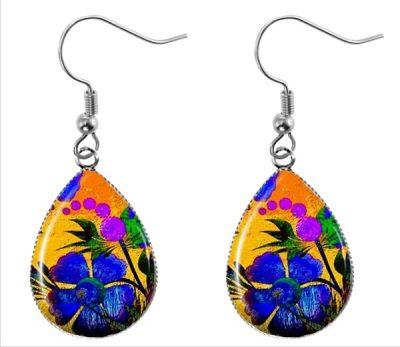 Painted Flower Earrings Dangle Earrings