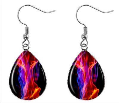 Flame Teardrop Earrings Dangle Earrings