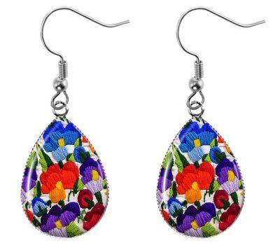 Embroidered Flowers Earrings Dangle Earrings