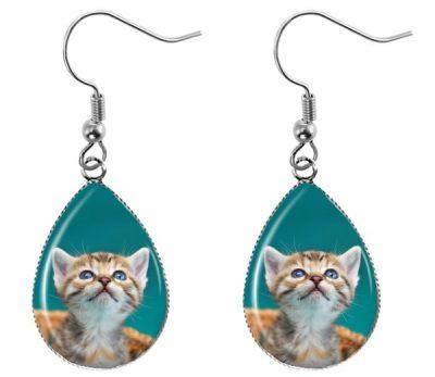 Kitten Teardrop Earrings Dangle Earrings