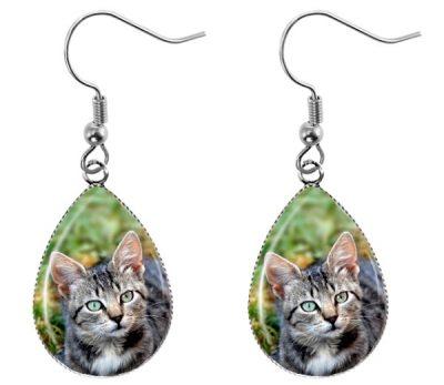 Tabby Cat Earrings Dangle Earrings