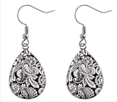Black White Paisley Earrings Dangle Earrings