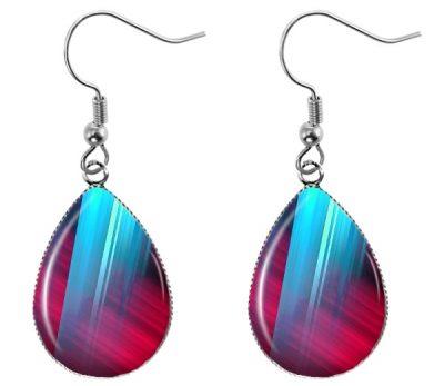 Aqua Red Teardrop Earrings Dangle Earrings