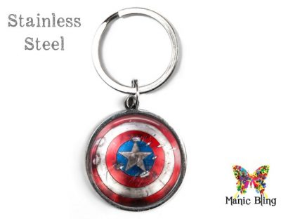Embattled Captain America Keyring Men's Keyrings