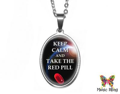 Red Pill Oval Pendant 18x25mm oval
