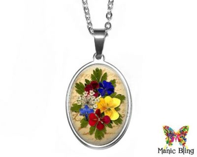 Pressed Flowers Oval Pendant 18x25mm oval