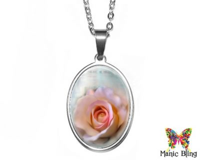 Pink Rose Oval Pendant 18x25mm oval