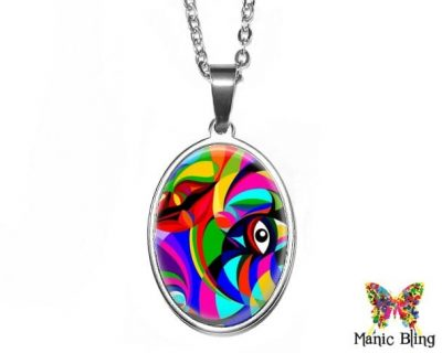 Op Art Oval Pendant 18x25mm oval