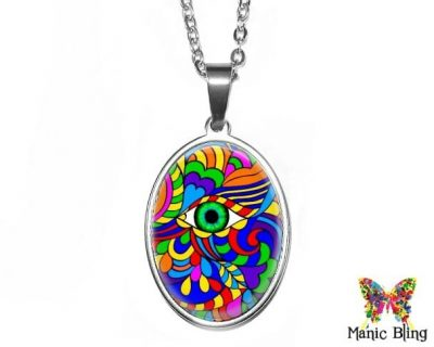 Op Art 2 Oval Pendant 18x25mm oval