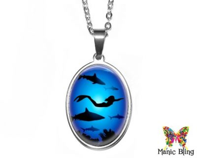 Mermaid Sharks Oval Pendant