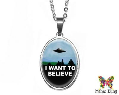 I Want To Believe Oval Pendant 18x25mm oval