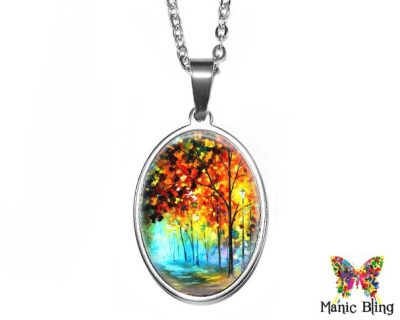 Fall Trees Oval Pendant