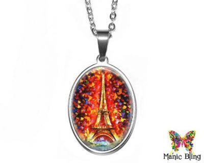Eiffel Tower Oval Pendant