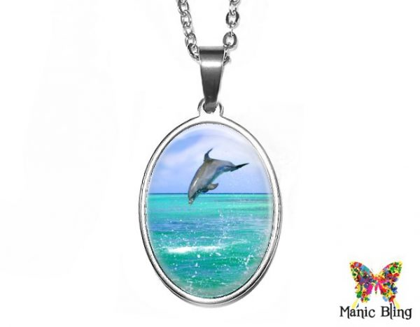 Dolphin Oval Pendant 18x25mm oval