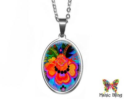 Colorful Floral Oval Pendant 18x25mm oval