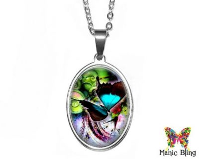 Butterfly Art Oval Pendant
