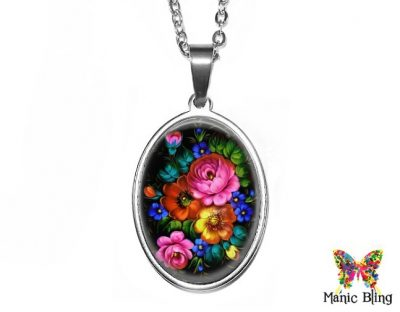 Zhostovo Flowers Oval Pendant 18x25mm oval