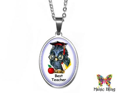 Best Teacher Pendant 18x25mm oval