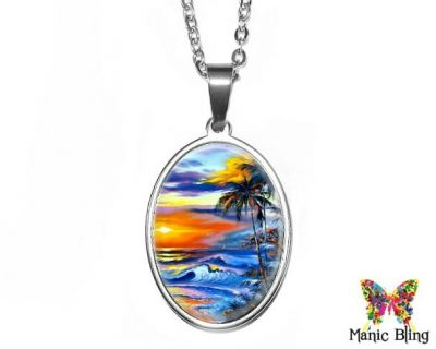 Beach Sunset Oval Pendant