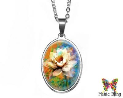 Artistic Flower Oval Pendant 18x25mm oval