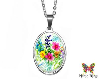 Wildflowers Oval Pendant 18x25mm oval