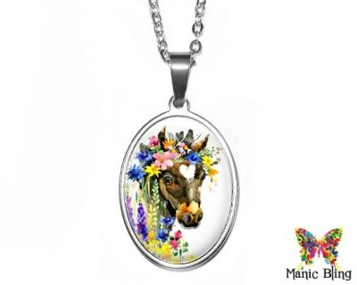 Watercolor Horse Oval Pendant 18x25mm oval