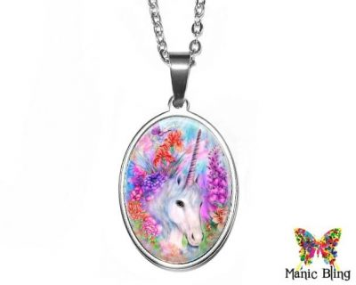 Unicorn Oval Pendant 18x25mm oval