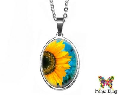 Sunny Sunflower Oval Pendant 18x25mm oval