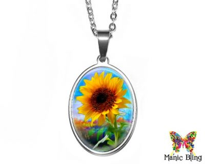 Sunflower Oval Pendant 18x25mm oval