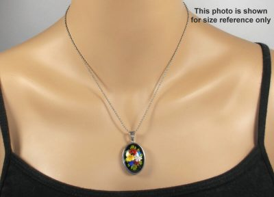 Colorful Floral Oval Pendant