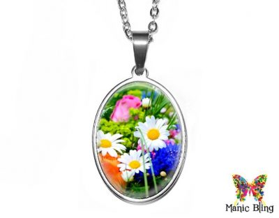 Spring Flowers Oval Pendant 18x25mm oval